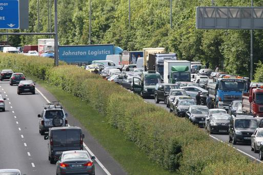 Tailbacks on the M50 northbound earlier today Credit: Mark Doyle