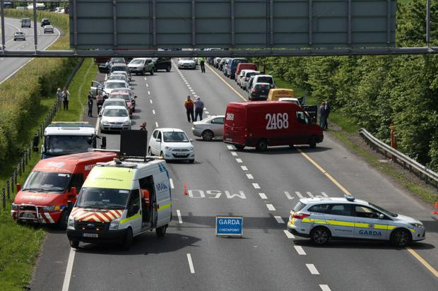 Gardai have closed off sections of the M11/M50 Credit: Mark Doyle