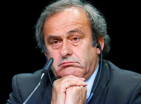 UEFA President Michel Platini addresses a news conference after a UEFA meeting in Zurich