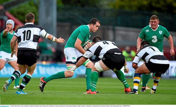 Devin Toner, Ireland, is tackled by Rodrigo Capo Ortega, left, and Roberto Tejerizo, Barbarians. International Rugby Friendly, Ireland v Barbarians. Thomond Park, Limerick. Picture credit: Diarmuid Greene / SPORTSFILE