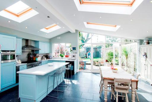 The open plan extension includes the kitchen and dining area