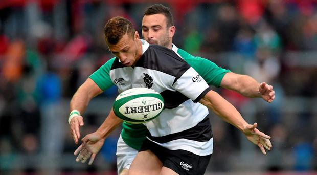 28 May 2015; Zane Kirchner, Barbarians, in action against Dave Kearney, Ireland. International Rugby Friendly, Ireland v Barbarians. Thomond Park, Limerick. Picture credit: Diarmuid Greene / SPORTSFILE