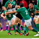 28 May 2015; Jimmy Gopperth, Barbarians, is tackled by Richardt Strauss, Ireland. International Rugby Friendly, Ireland v Barbarians. Thomond Park, Limerick. Picture credit: Diarmuid Greene / SPORTSFILE