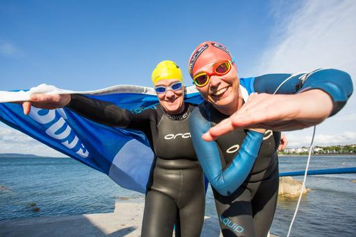 Viv Conlon from Dún Laoghaire and Marie Burke from Monkstown at Seapoint, Co Dublin, which was awarded a Blue Flag. Photo: Naoise Culhane