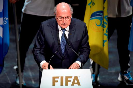FIFA President Sepp Blatter speaks at the opening ceremony of the FIFA congress in Zurich, Switzerland. Photo: AP