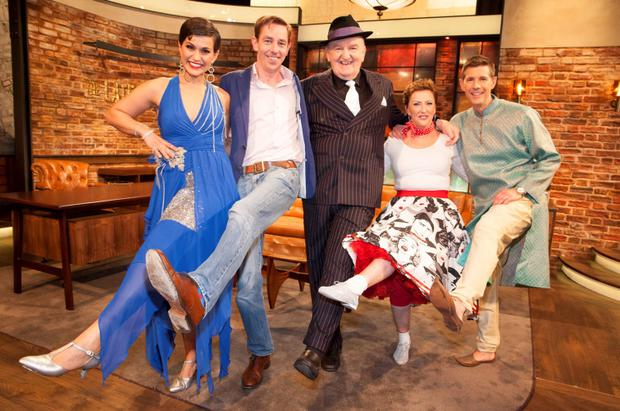Pictured: Maria Walsh, Ryan Tubridy, George Hook, Majella O'Donnell and Dermot Bannon ahead of tonight's Late Late Show