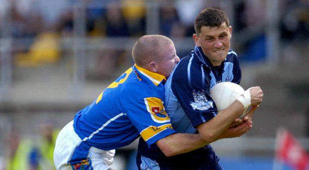 Alan Brogan, Dublin, in action against Dermot Brady, Longford in 2006