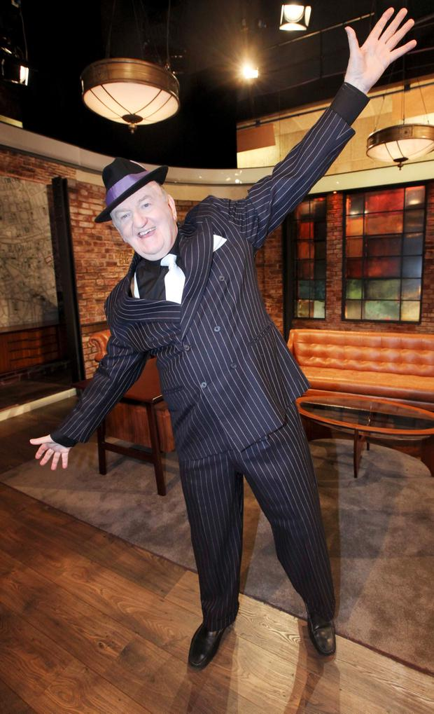28/05/15 To mark the season finale of the Late Late Show, well-known Irish personalitie George Hook pictured in dancing costume as The Late Late Show goes In The Mood For Dancing... Pic Stephen Collins/Collins Photos
