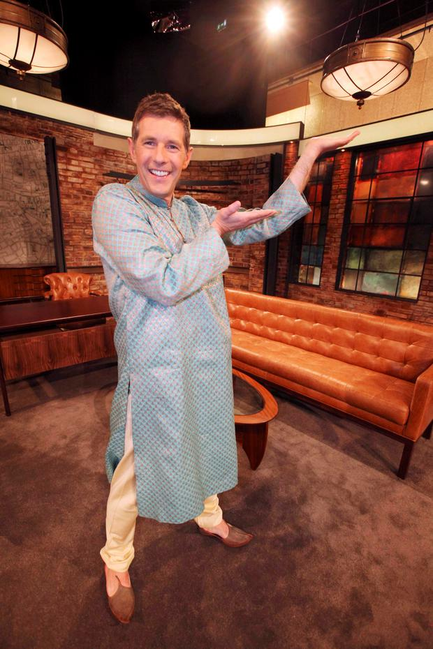 28/05/15 To mark the season finale of the Late Late Show, well-known Irish personalitie Dermot Bannon pictured in dancing costume as The Late Late Show goes In The Mood For Dancing... Pic Stephen Collins/Collins Photos