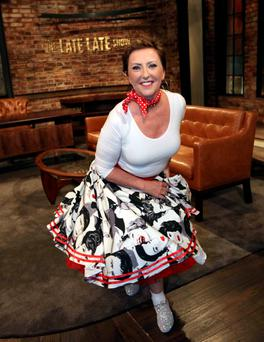 28/05/15 To mark the season finale of the Late Late Show, well-known Irish personalitie Majella O?Donnell pictured in dancing costume as The Late Late Show goes In The Mood For Dancing... Pic Stephen Collins/Collins Photos