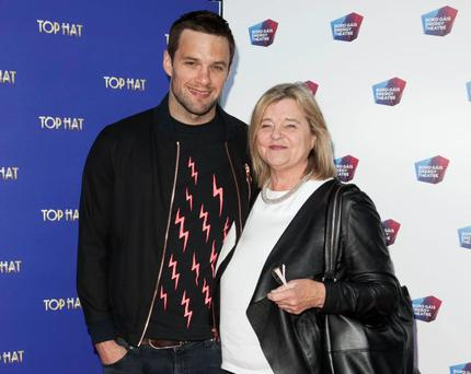 Niall Breslin aka Bressie and his mother Mandy Breslin at the opening night of Top Hat at The Bord Gais Energy Theatre,Dublin