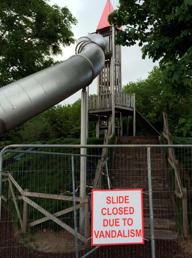 Slide in Millennium Park clsed after arson attack by thugs