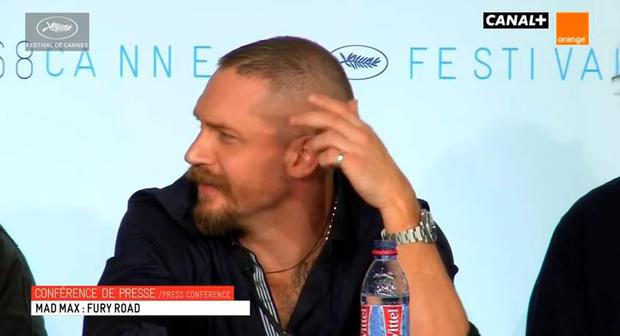 Tom Hardy reacts to a question about the lack of men in Mad Max: Fury Road