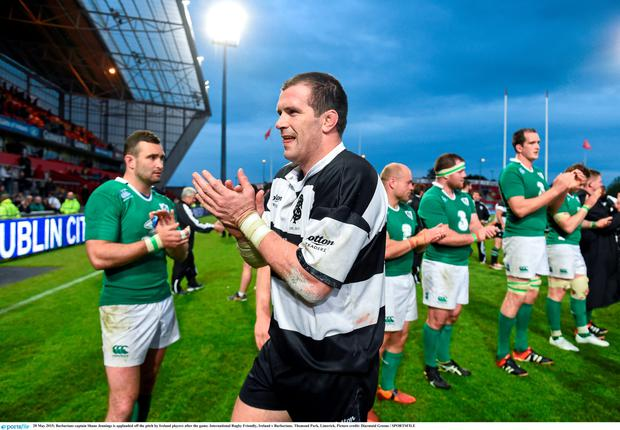 28 May 2015; Barbarians captain Shane Jennings is applauded off the pitch by Ireland players after the game. International Rugby Friendly, Ireland v Barbarians. Thomond Park, Limerick. Picture credit: Diarmuid Greene / SPORTSFILE