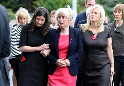 Hilary O Herlihy wife of Bill O Herlihy pictured with her two daughters Sally and Jill as they arrive at the Church of Our Lady Foxrock for Bill O Herlihy's funeral mass. 29/5/15 Pic Frank Mc Grath Irish Independent