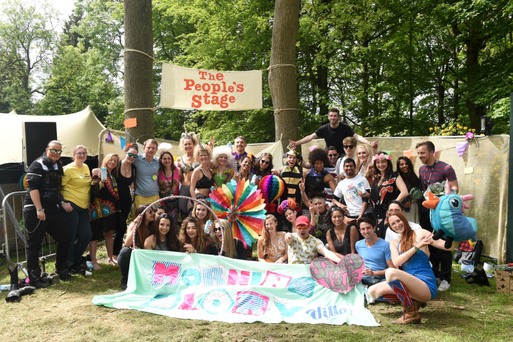 A crowd gathers after 'Morning Gloryville' rave at Innocent Unplugged Festival
