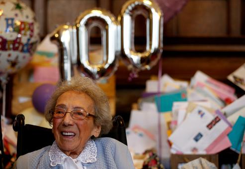 Winnie Blagden, who will become a centenarian at the end of the month, during a surprise party at Sheffield Town Hall Lynne Cameron/PA Wire