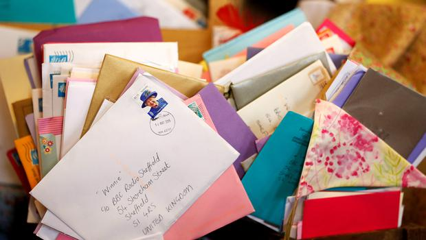 Cards for Winnie Blagden, who will become a centenarian at the end of the month, during a surprise party at Sheffield Town Hall, following an appeal by BBC Radio Sheffield on Facebook. Lynne Cameron/PA Wire