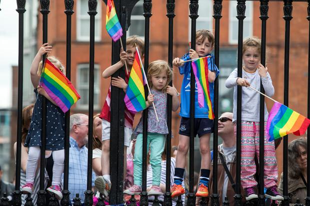 Children wait for the results of the same-sex marriage referendum at Dublin Castle last week. Photo: Mark Condren