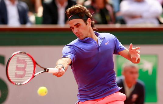 Switzerland's Roger Federer in action during the third round at Roland Garros Action Images via Reuters / Jason Cairnduff