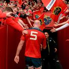 Munster's Paul O'Connell is applauded off the field by the Thomond Park crowd after playing his last home game for the club