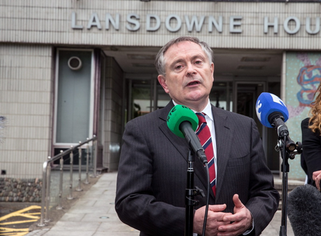 29/5/15 Minister Brian Howlin briefing the press on the Lansdowne Road agreement on public sector pay talks at Lansdowne House in Dublin. Picture: Arthur Carron