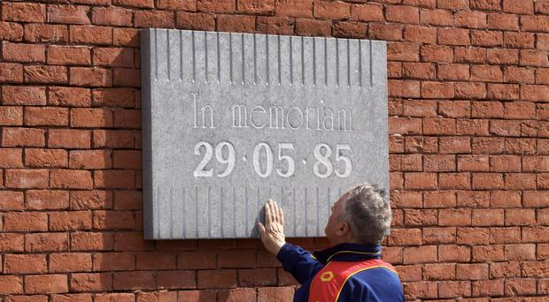 A plaque remembering the 39 killed at Heysel