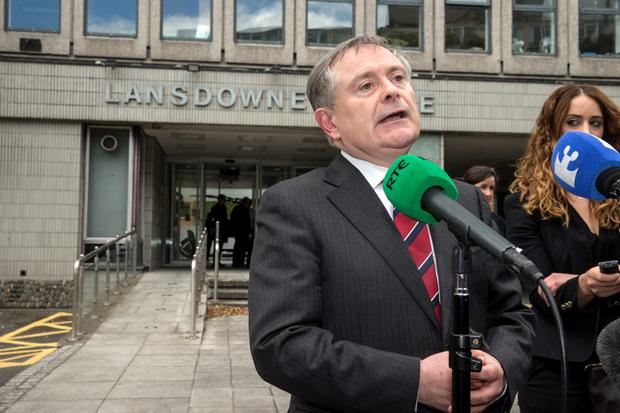 Minister Brian Howlin briefing the press on the Lansdowne Road agreement on public sector pay talks at Lansdowne House in Dublin. Picture: Arthur Carron