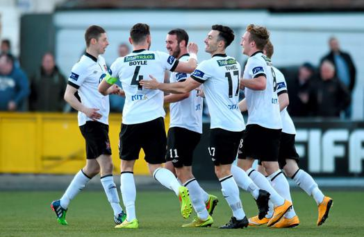 Dundalk's Kurtis Byrne, third from right, is congratulated by team-mates after scoring his side's third goal. FAI Senior Cup, Second Round, Dundalk v Shelbourne. Oriel Park, Dundalk, Co. Louth. Picture credit: Paul Mohan / SPORTSFILE