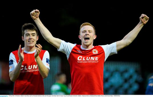 29 May 2015; St Patrick's Athletic's Sean Hoare and Lee Desmond celebrate at the end of the game. FAI Senior Cup, Second Round, St Patrick's Athletic v Shamrock Rovers. Richmond Park, Dublin. Picture credit: David Maher / SPORTSFILE
