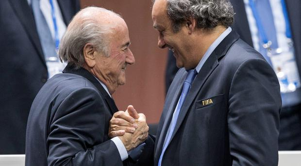Sepp Blatter and Michel Platini at yesterday's FIFA Congress