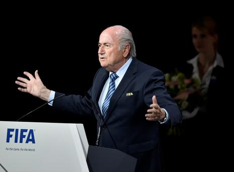 Sepp Blatter speaking at the FIFA Congress