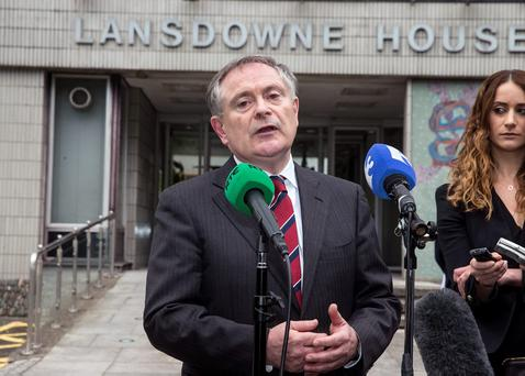 Minister Brendan Howlin briefs the media on the Lansdowne Road agreement at Lansdowne House in Dublin