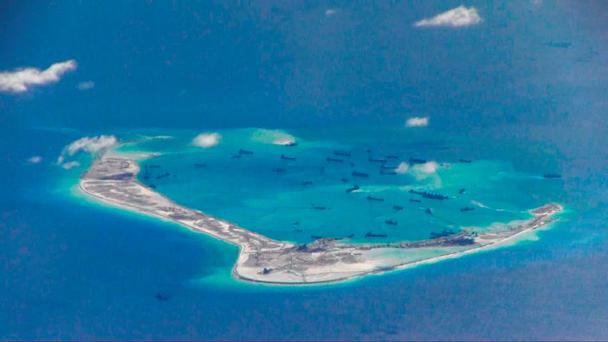 Chinese dredging vessels are purportedly seen in the waters around Mischief Reef in the disputed Spratly Islands in the South China Sea, in this file still image from video taken by a P-8A Poseidon surveillance aircraft and provided by the United States Navy. Photo: Reuters