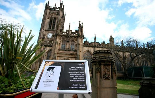 The Order of Service on a sign outside Manchester Cathedral ahead of the memorial service for Coronation Street star Anne Kirkbride