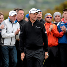 A disappointed Padraig Harrington after pitching onto the 8th Green at the Dubai Duty Free Irish Open Golf Championship