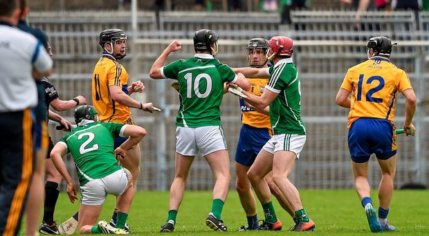 The tussle between Clare and Limerick players last week, which resulted in a red card for Patrick Donnellan and Limerick captain Donal O'Grady requiring treatment