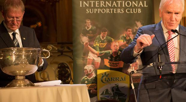 FUNDRAISER: GAA pundit Micheal Ó Muircheartaigh and Minister of Diaspora Affairs Jimmy Deenihan