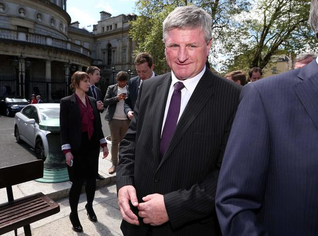 Newly elected Fianna Fail TD for Carlow Kilkenny, Deputy Bobby Aylward pictured arriving at Leinster House with members of the Fianna Fail Party (Colin Keegan)