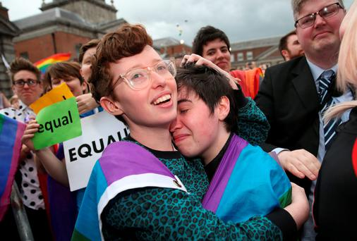 Yes voters celebrating in Dublin, as Ireland's new laws on gay marriage will be enacted by the end of July (Brian Lawless/PA Wire)