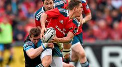 Munster's Ian Keatley is tackled by Richie Vernon during yesterday's Guinness PRO12 final.