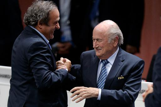 Re-elected FIFA president for a fifth term, chosen to lead world soccer despite separate U.S. and Swiss criminal investigations into corruption. The 209 FIFA member federations gave the 79-year-old Blatter another four-year term on Friday after Prince Ali bin al-Hussein of Jordan conceded defeat after losing 133-73 in the first round (Patrick B. Kraemer / Keystone via AP)