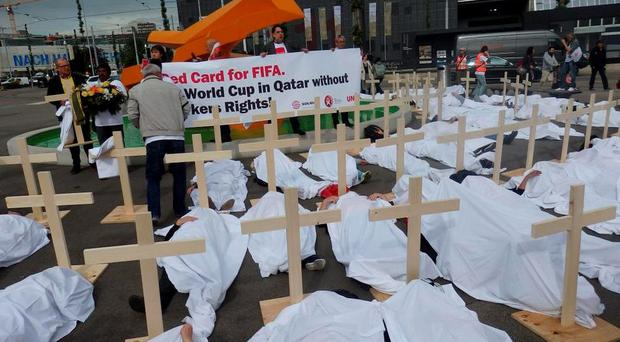 A protest on behalf of migrant workers in Qatar near the FIFA Congress in Zurich