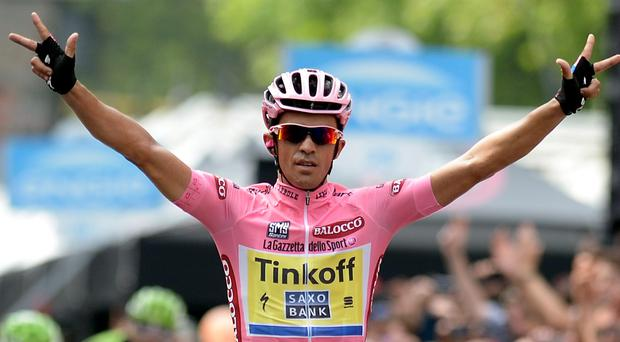 Alberto Contador remains on course to become the first cyclist since 1998 to win the Giro d'Italia and the Tour de France in the same year REUTERS/LaPresse/Fabio Ferrari