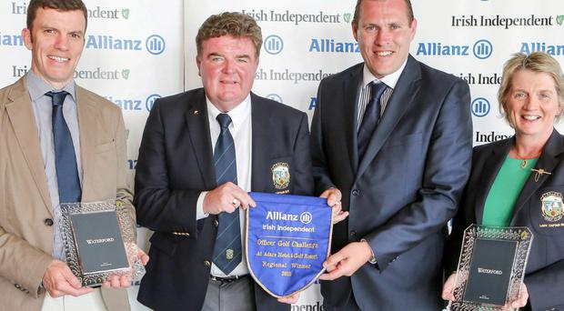 WINNERS: Tralee hon secretary Peter Naughton, captain Ger O'Connor and lady captain Bernie Buckley with Ciaran Whelan of Allianz