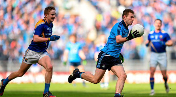 Jack McCaffrey, Dublin, in action against Dessie Reynolds, Longford. Leinster GAA Football Senior Championship, Quarter-Final, Dublin v Longford. Croke Park, Dublin