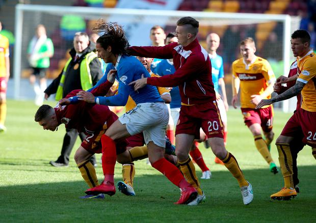 Rangers player Bilel Mohsni reacts during an incident after the Scottish Premiership Play Off Final, second leg match at Fir Park, Motherwell