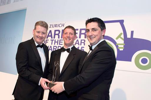 Pictured are (LtoR) John O'Connor, CFO, Zurich Insurance, Michael Doyle, Head of Sales and Agri, Zurich Insurance and Noel McCall from Kilcoole, Wicklow who is the Grand Prix Winner of the Zurich Farming Independent Farmer of the Year Awards. Photo: El Keegan