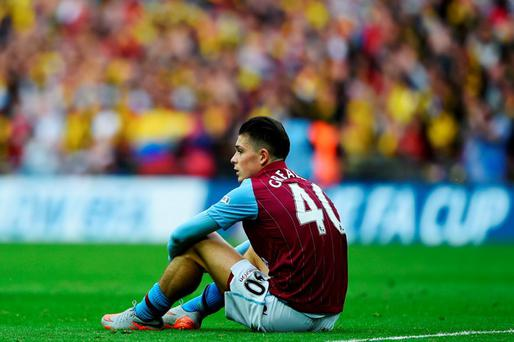 Aston Villa's Jack Grealish looks dejected in defeat after the FA Cup Final between Aston Villa and Arsenal