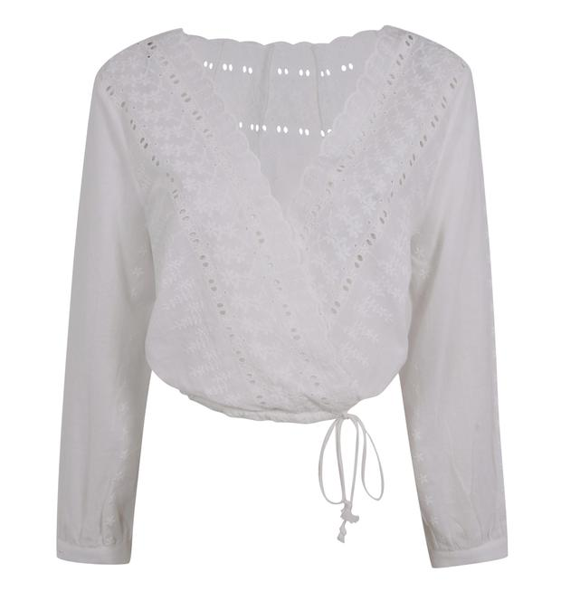 The white borderie Anglaise crossover top - Something that Kris Kardashian might have worn in this seventies.